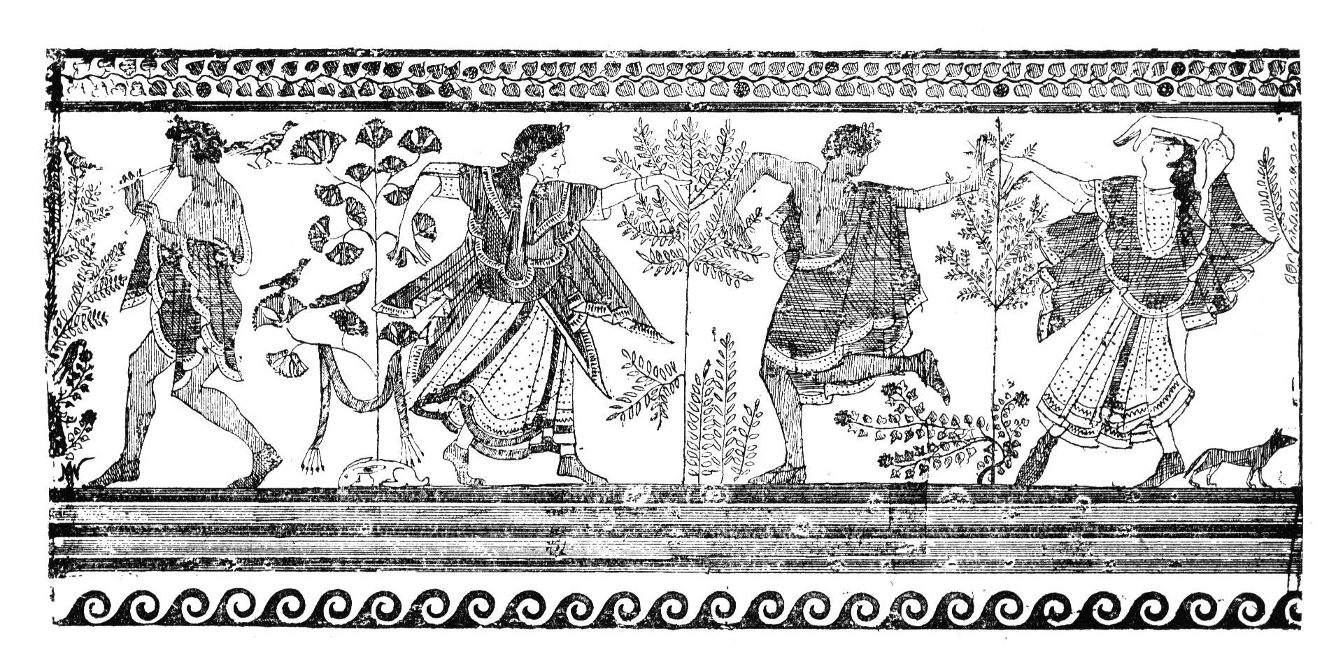 etruscan dancing  from the grotta del triclinio --corneto