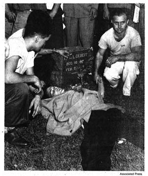 Herbert Lewis of Yorktown Heights, who was injured during the Sept. 4 riot, lies in a nearby cemetery while awaiting treatment.